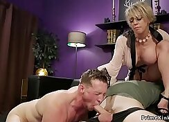 Busty MILF charming prone while NOT her husband on sofa