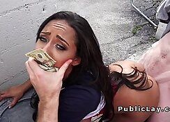 Busty babe banged in public for cash