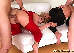Clothed babes have hot anal threesome