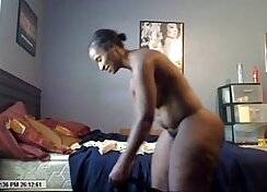 Curvy MILF Chyanne shows off black clit on her web cam