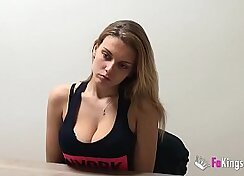 Busty gal sucking for cash in super porn