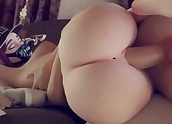 Amazing gal with great body rides cock riding
