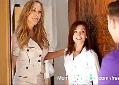 Brunette teen mommy Brandi Love shows her ball licking skills