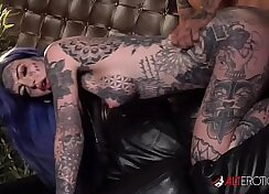 Curvy cutie in tattoos getting fucked by Mr White