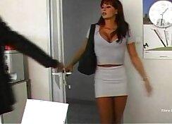 Brutal stud banging brutish busty secretary in various poses at work