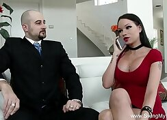 Cheating wife rides husband on sofa Part