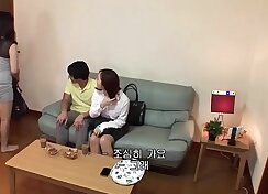 Crossdressing young wife with sneakers with son