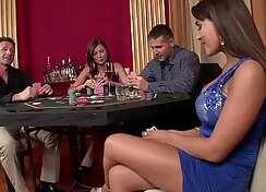 Chestnut haired bombshell Dickie Steele is double penetrated with stout fists and cock