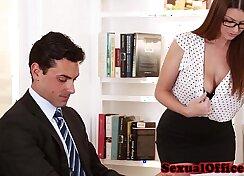 Big boobed secretary gets a jock fucking to make her pay
