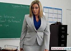 Busty Jap Milf teacher gives wide gear to student