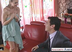 Bronish blonde chick Julia Ann eats ger date and takes facial on the horny couch