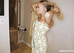 Blonde step sister convinces friend to fuck her in the bathroom
