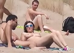 brazen tramp picks up a dong on the beach for a fuck