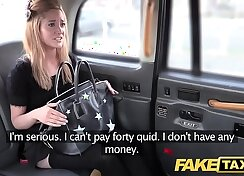 Blonde in stockings taxi fuck and