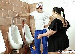 BBW Getting Hosed In The Bathroom
